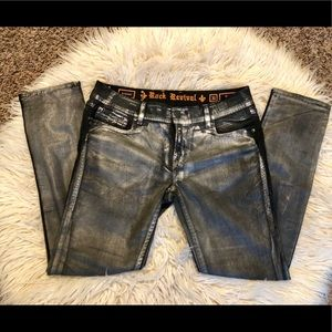 Rock Revival skinny jeans black metallic sz 31